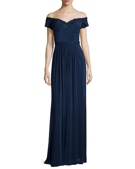 La Femme Beaded Off-the-Shoulder Gown, Navy