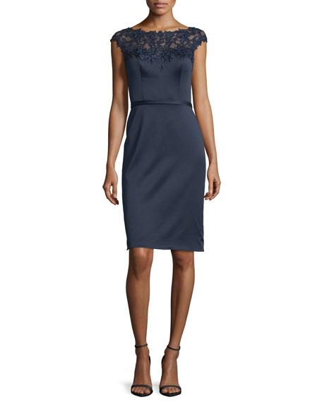 La Femme Beaded Cap-Sleeve Satin Cocktail Dress
