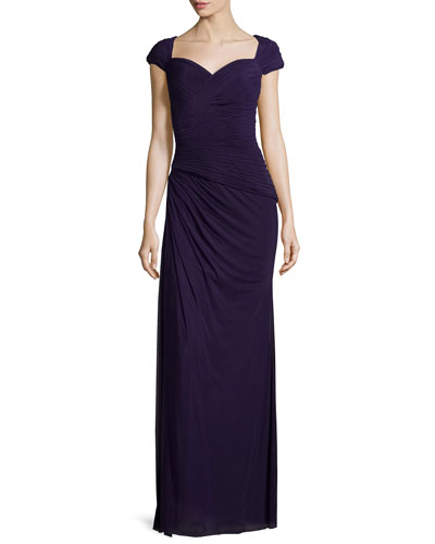 Cap-Sleeve Ruched Sweetheart Gown, Plum