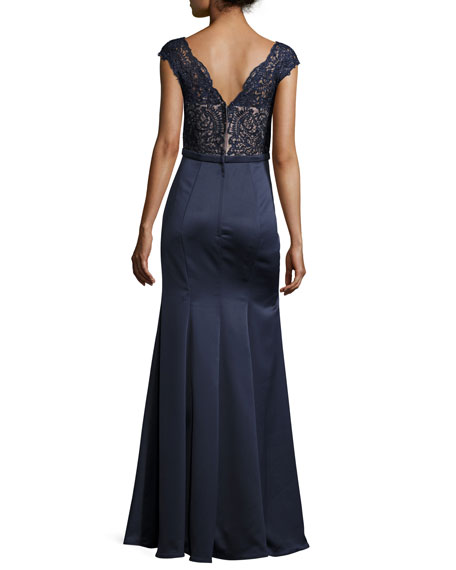 Cap-Sleeve Lace & Satin Combo Gown