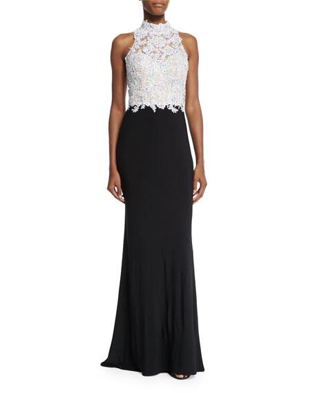La Femme Beaded Sleeveless Mock-Neck Combo Gown, Black/White