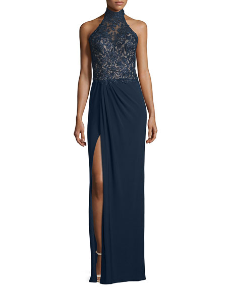 La Femme Sleeveless Mock-Neck Combo Gown, Navy