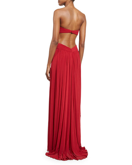 Strapless Pleated Cutout Gown, Deep Red