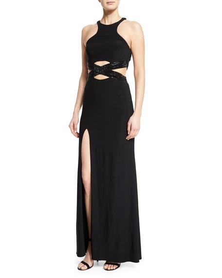 La Femme Sleeveless Crewneck Crisscross Gown, Black