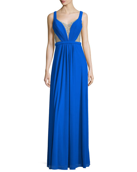 La Femme Sleeveless Illusion Beaded V-Neck Gown, Electric