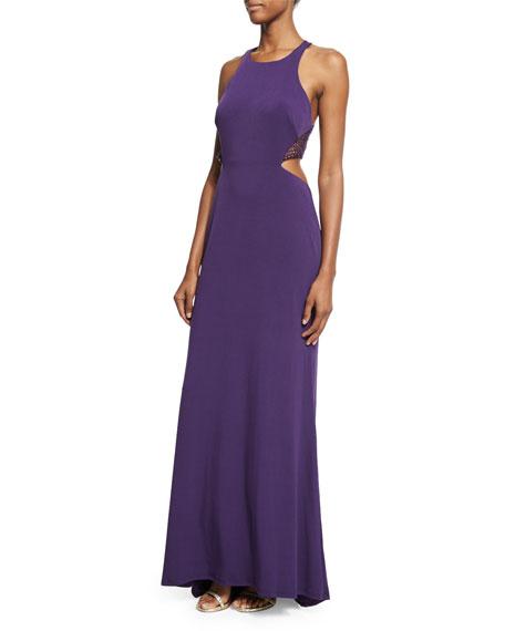 La Femme Sleeveless Crewneck Cutout Halter Gown, Plum