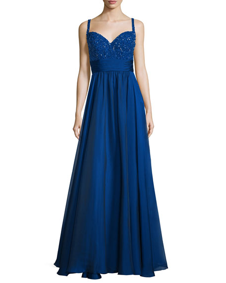 La Femme Sleeveless Sweetheart Beaded-Bodice Combo Gown