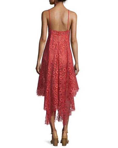 Rosemary Asymmetric-Hem Lace Dress, Cherry