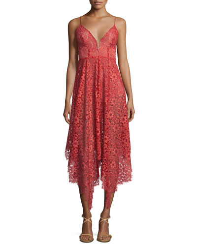 Rosemary Asymmetric-Hem Lace Dress, Cherry