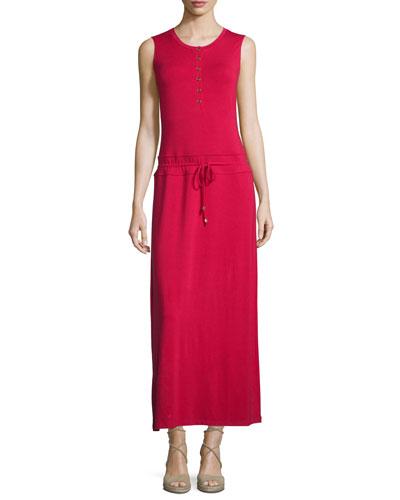 Vacation Drawstring-Waist Column Dress