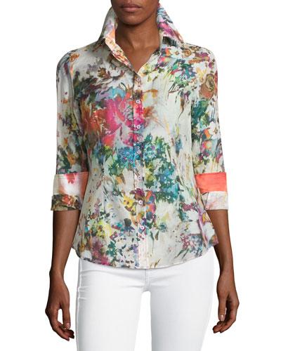 Floral-Print Long-Sleeve Blouse, Multi Colors