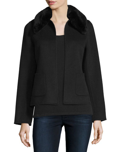 Cropped Cashmere Jacket w/ Rabbit Fur Collar