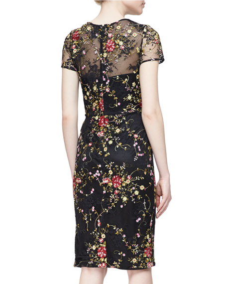 David meister short sleeve floral embroidered cocktail dress