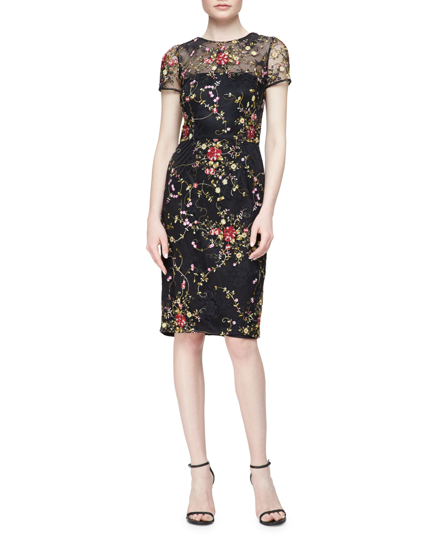 41c64d6b1da David Meister Short-Sleeve Floral Embroidered Cocktail Dress ...