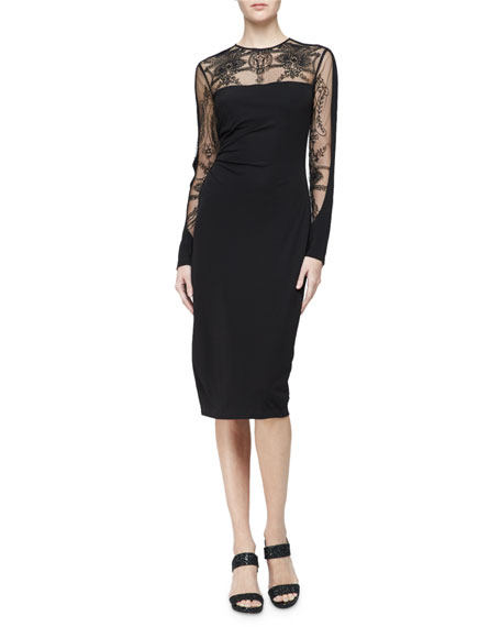 David Meister Long-Sleeve Embroidered Jersey Cocktail Dress