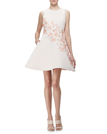 sleeveless floral embellished fit & flare dress