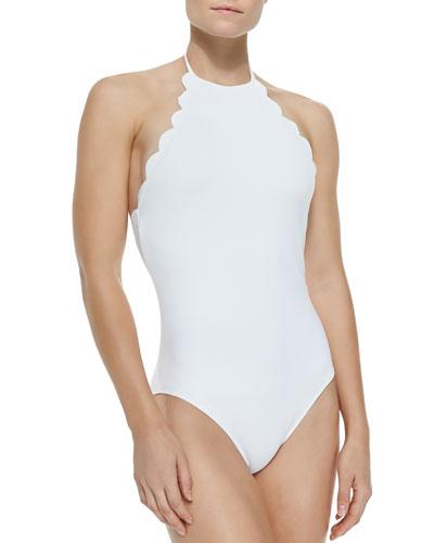 Mott Halter One-Piece Swimsuit W/ Scalloped Edges, White