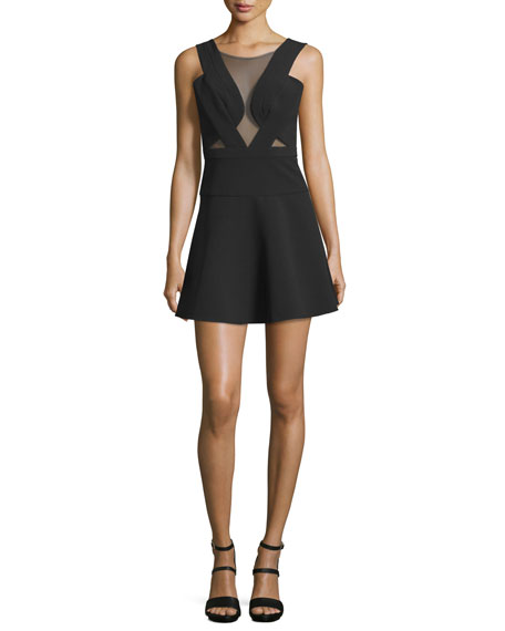 Britney Mesh Inset Party Dress Black