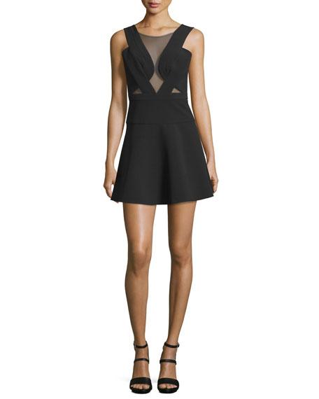 BCBGMAXAZRIA Britney Mesh-Inset Party Dress, Black