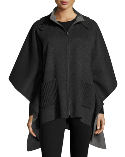 Double-Faced Hooded Cashmere Cape, Charcoal