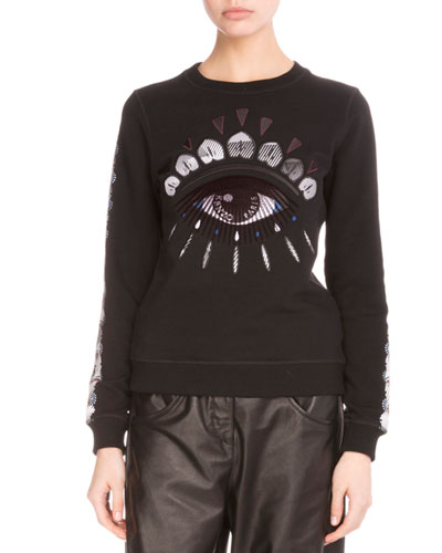 Embroidered Nagai Eye Sweatshirt, Black