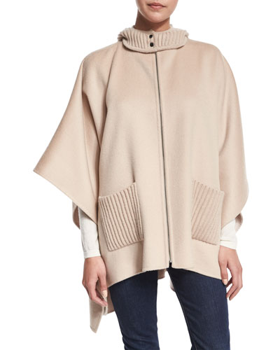 Double-Faced Hooded Cashmere Cape, Sand/Bone