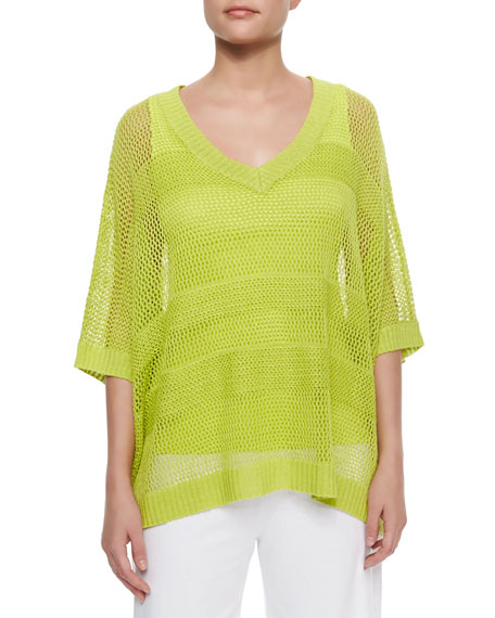 Joan Vass Mesh Striped Sweater, Women's