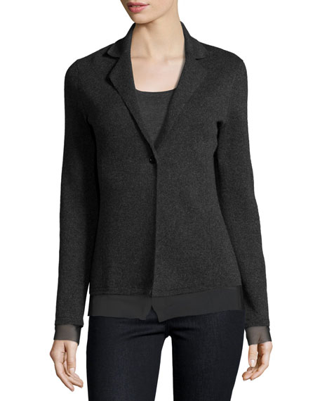 Neiman Marcus Cashmere Collection Chiffon-Trimmed Cashmere Blazer