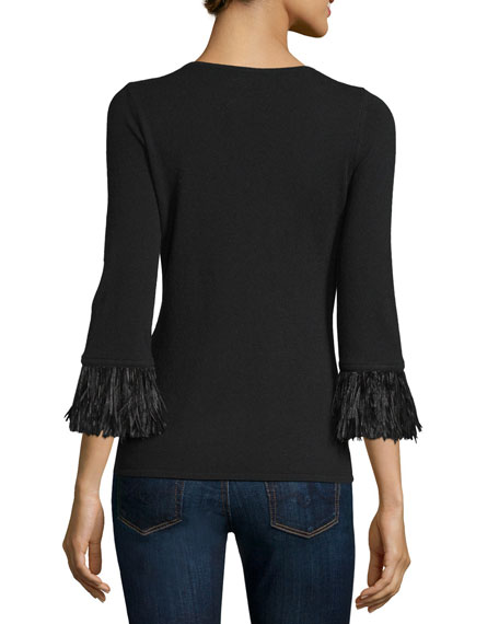 3/4-Sleeve Feather-Trim Cashmere V-Neck Sweater Sale