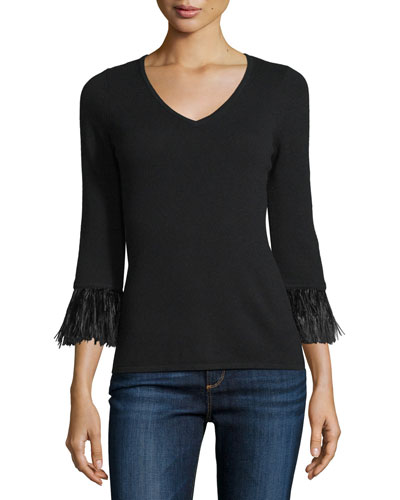 3/4-Sleeve Feather-Trim Cashmere V-Neck Sweater