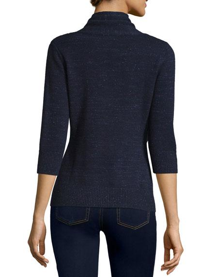 3/4-Sleeve Cashmere & Lurex® Half-Sleeve Buckle Cardigan