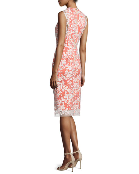 Sleeveless Lace-Overlay Cocktail Dress, Ivory/Sunrise