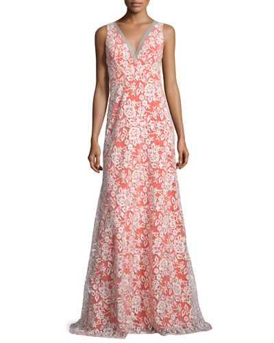 Sleeveless V-Neck Gown W/Embroidered Lace Overlay, Ivory/Orange