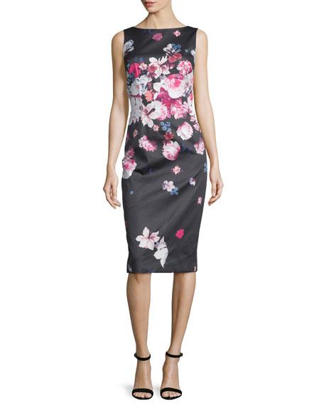 David Meister Sleeveless Floral-Print Midi Sheath Dress