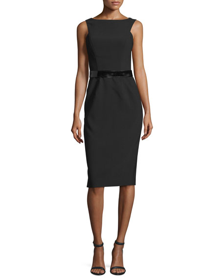 David Meister Sleeveless Belted Sheath Dress, Black
