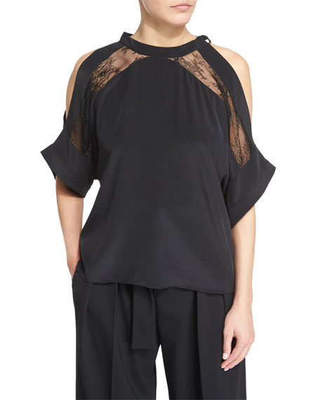 Iro Mya Lace-Trim Voile Cold-Shoulder Top, Black