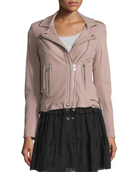 IRO Han Leather Moto Jacket, Pink