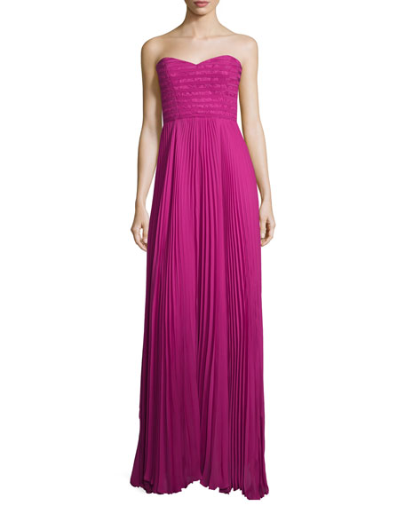 Sweetheart-Neck Plisse Gown, Hot Magenta