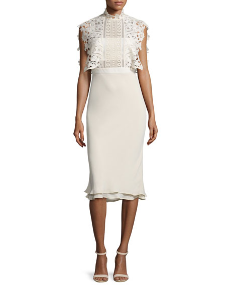 Self PortraitCollared Chiffon & Lace Midi Dress, Cream