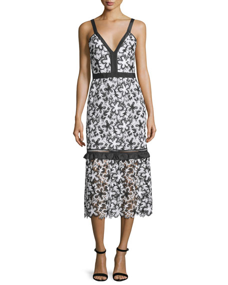Self Portrait Sleeveless Floral Lace Midi Dress, Black/White