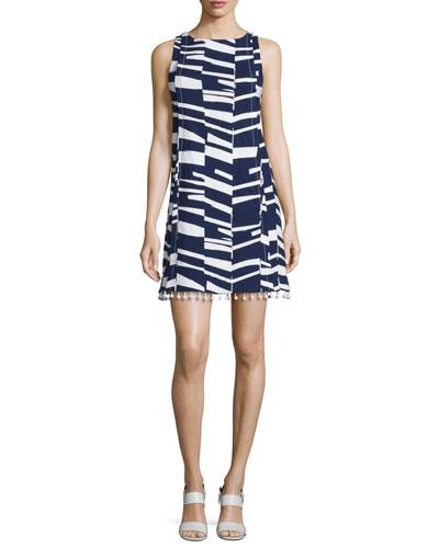 Sleeveless Modern-Print Shift Dress w/Beaded Tassels