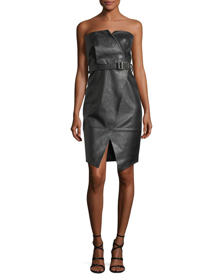 Camilla & Marc Strapless Leather Cocktail Dress, Black