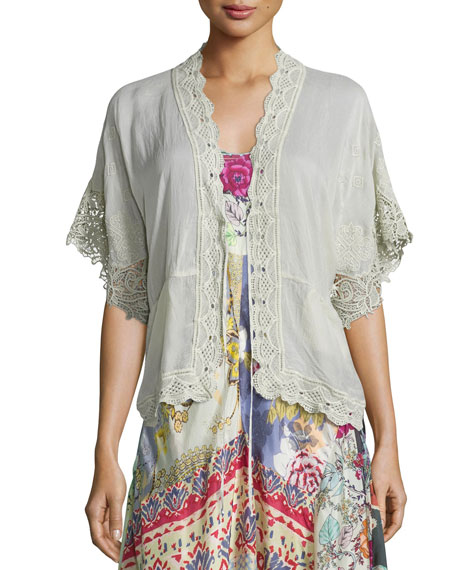 Reedy Lace-Trim Wrap Jacket, Gray Whisper