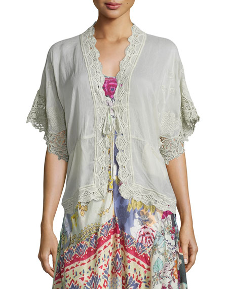 Johnny Was Reedy Lace-Trim Wrap Jacket, Gray Whisper
