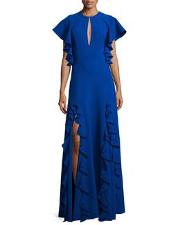 Keyhole Gown W/Ruffle Trim, Royal Blue