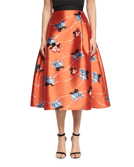 Floral-Print Flared Midi Skirt, Coral
