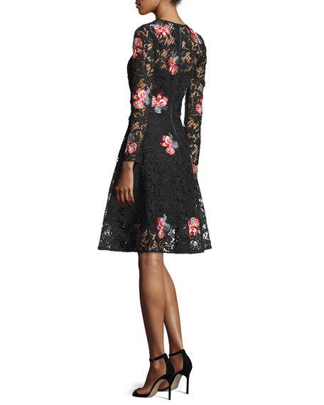 Sachin & Babi Floral-Embroidered Lace Cocktail Dress, Jet