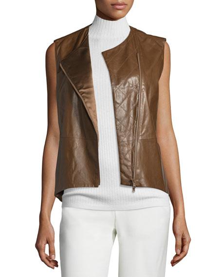 Brunello Cucinelli Zip-Front Leather Jacket, Brown