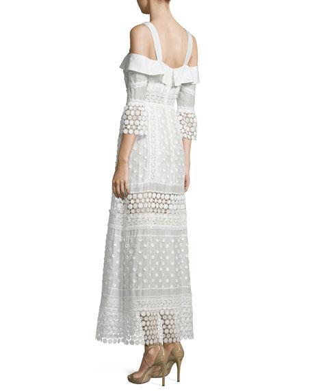 Cold-Shoulder Medallion Maxi Dress, White