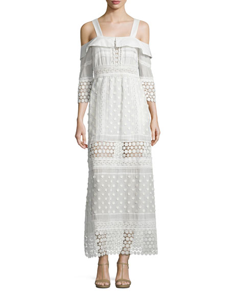 Self PortraitCold-Shoulder Medallion Maxi Dress, White